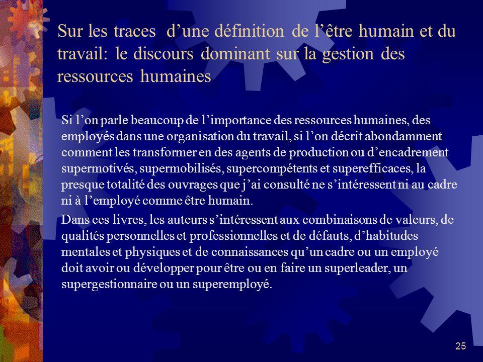 Sur les traces d'une définition de l'être humain et du travail: le discours dominant sur la gestion des ressources humaines