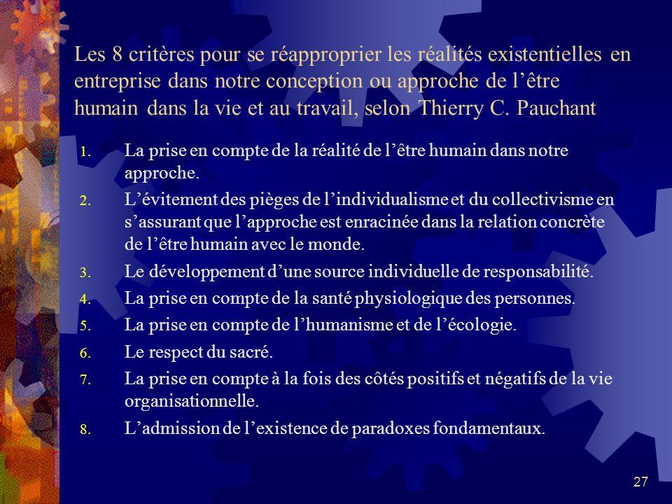 Les 8 critères pour se réapproprier les réalités existentielles en entreprise dans notre conception ou approche de l'être humain dans la vie et au travail, selon Thierry C. Pauchant