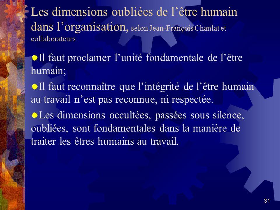 Les dimensions oubliées de l'être humain dans l'organisation, selon Jean-François Chanlat et collaborateurs