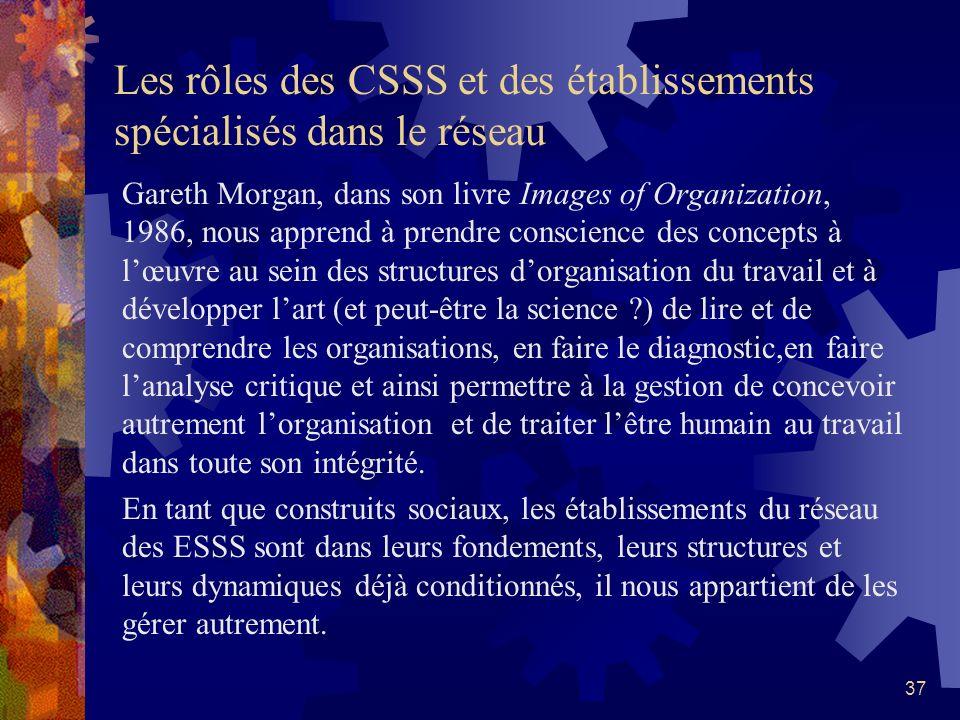 Les rôles des CSSS et des établissements spécialisés dans le réseau