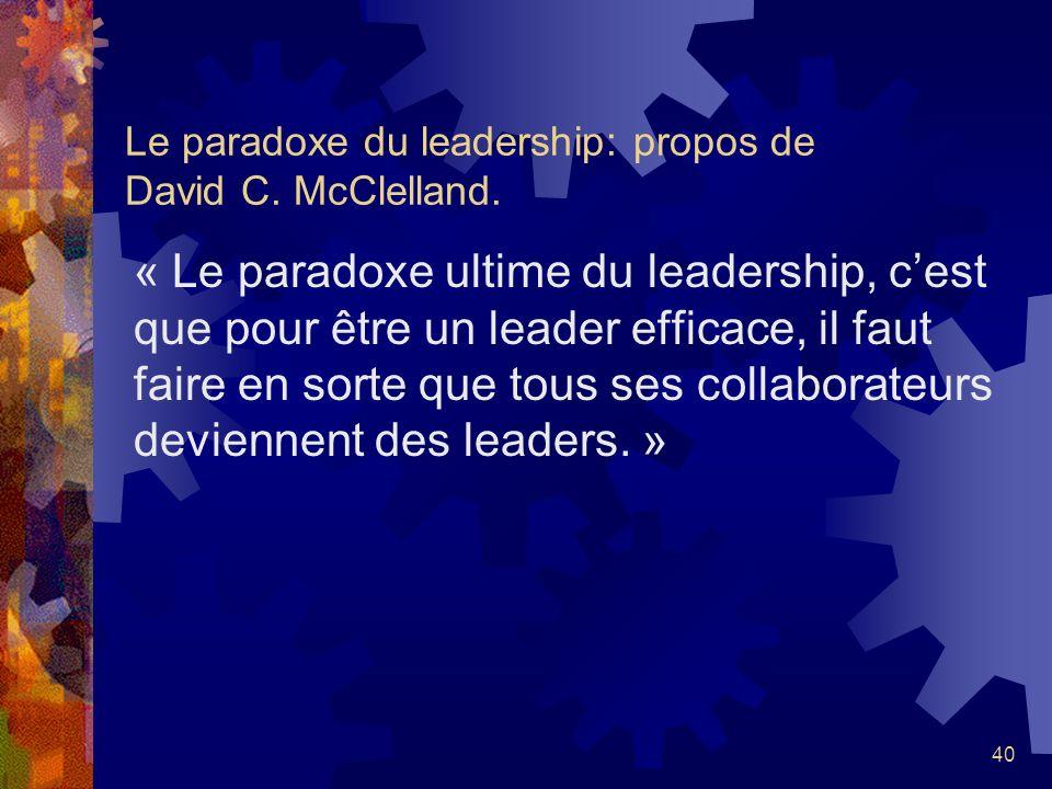 Le paradoxe du leadership: propos de David C. McClelland.