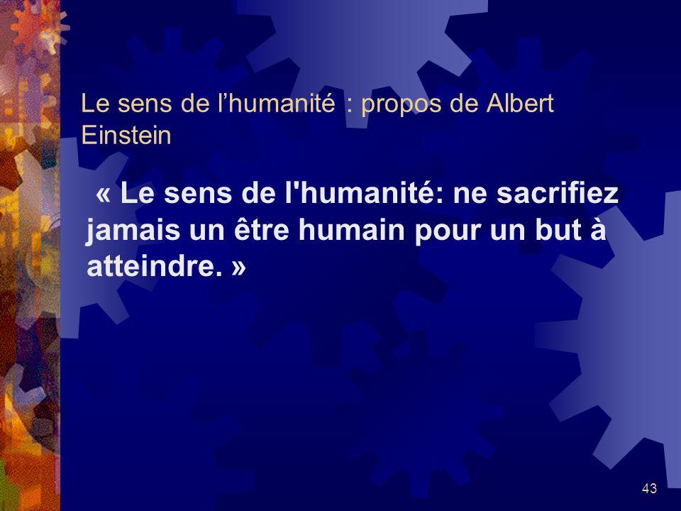 Le sens de l'humanité : propos de Albert Einstein
