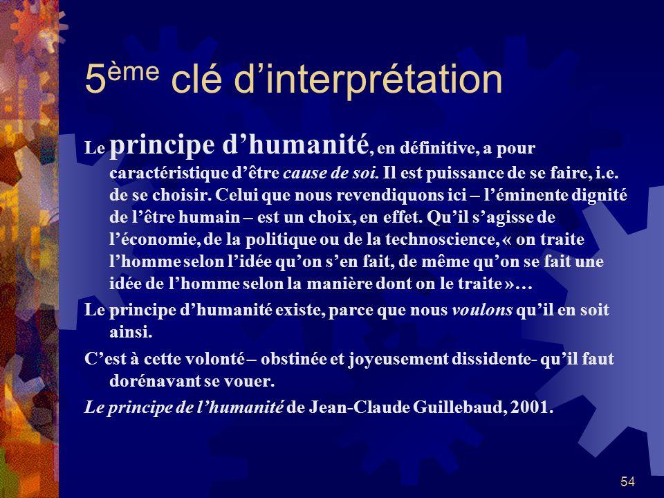 5ème clé d'interprétation