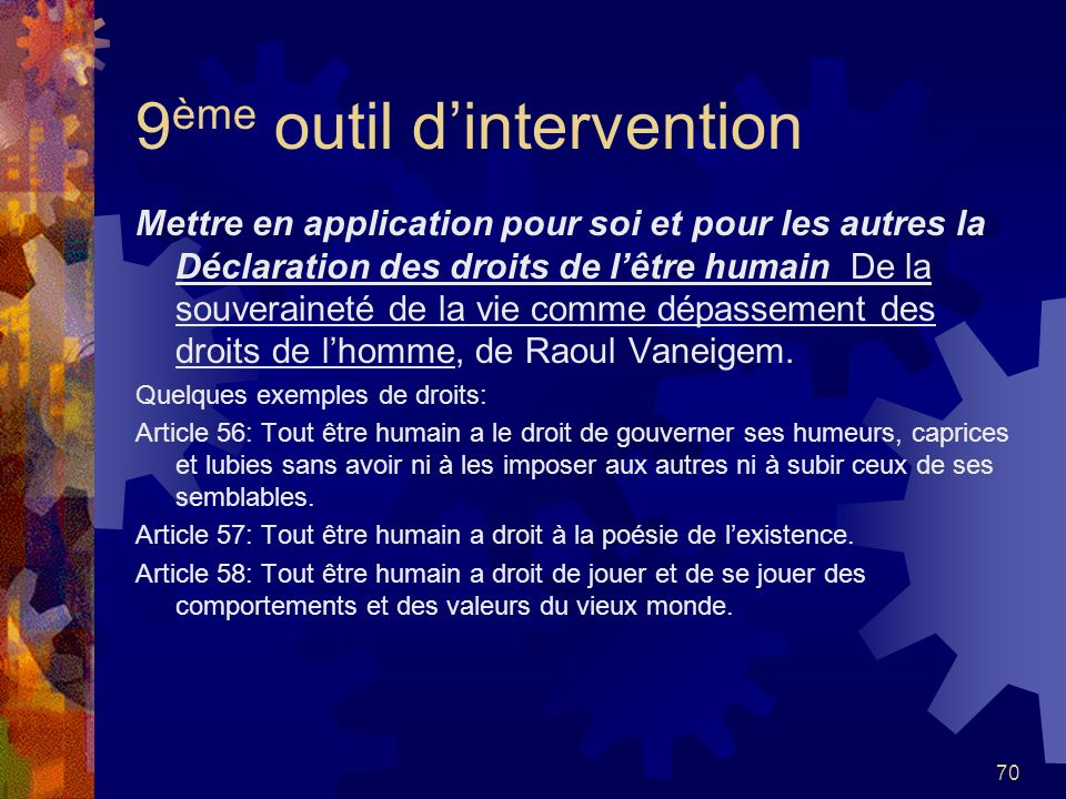 9ème outil d'intervention