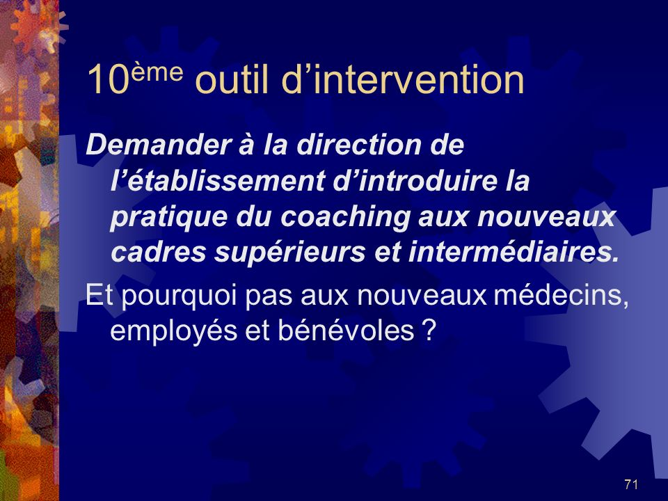 10ème outil d'intervention