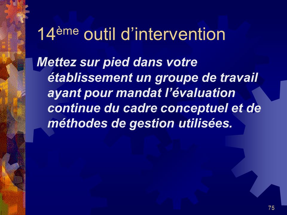 14ème outil d'intervention