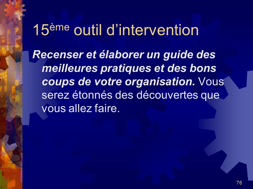 15ème outil d'intervention