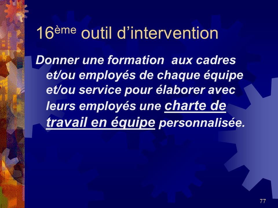 16ème outil d'intervention