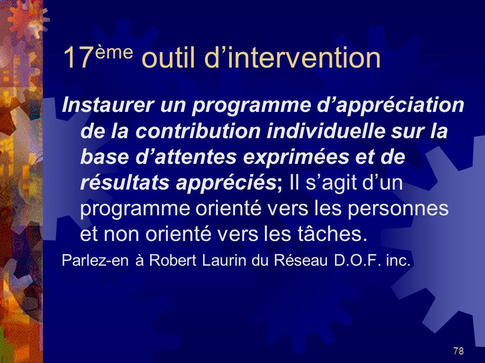 17ème outil d'intervention