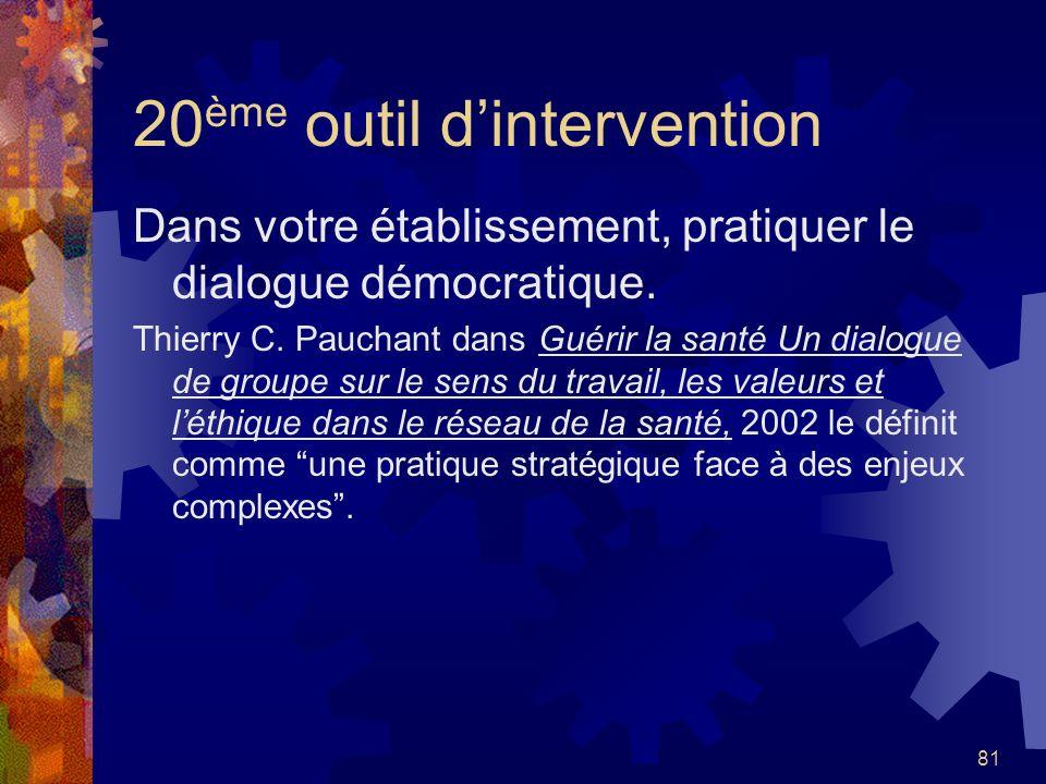 20ème outil d'intervention