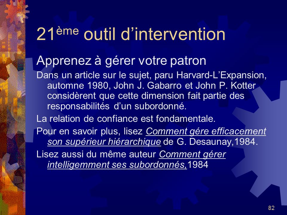 21ème outil d'intervention