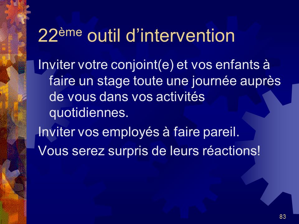 22ème outil d'intervention