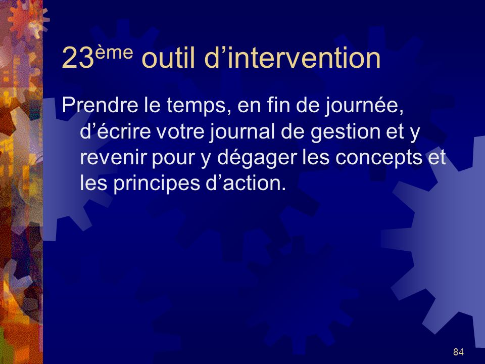 23ème outil d'intervention