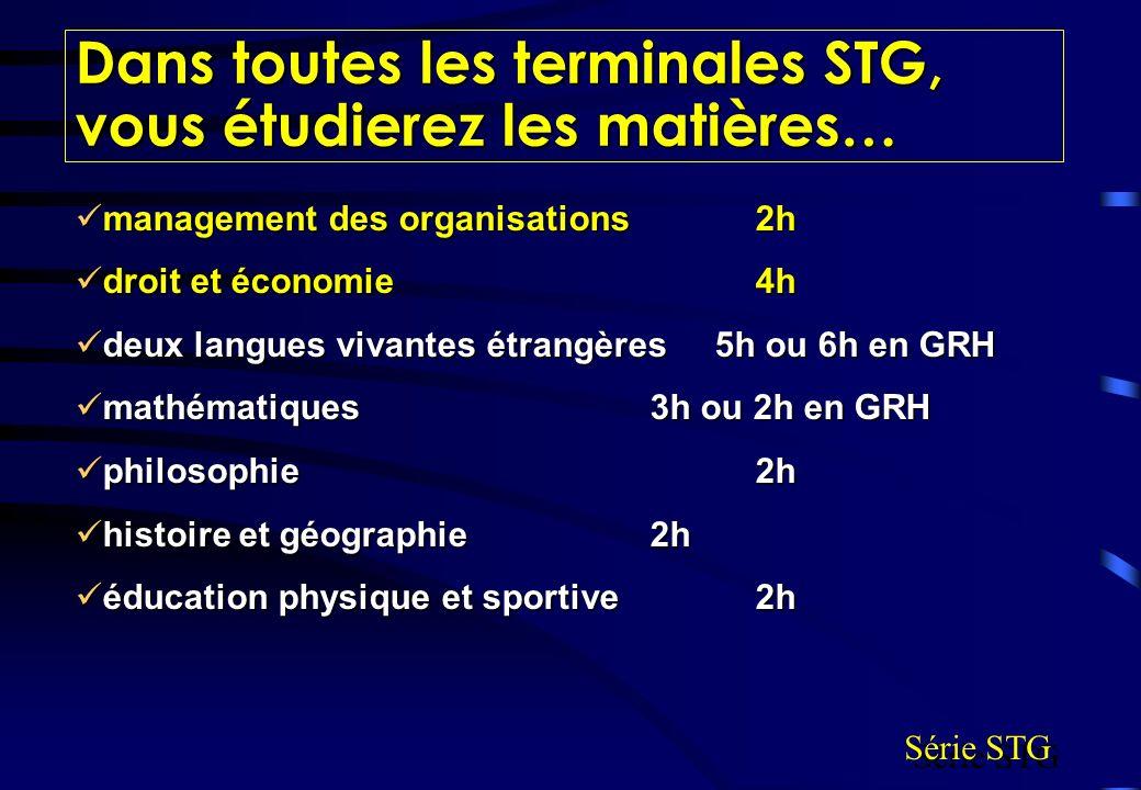 Dans toutes les terminales STG, vous étudierez les matières…
