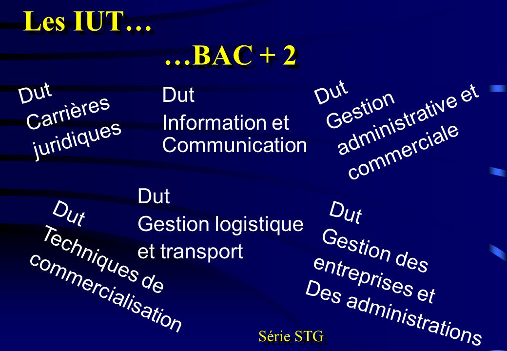 Les IUT… …BAC + 2 Dut Gestion Dut administrative et Carrières Dut