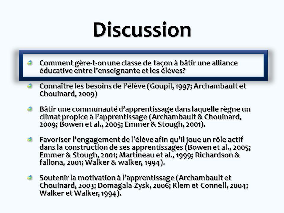 Discussion Comment gère-t-on une classe de façon à bâtir une alliance éducative entre l'enseignante et les élèves