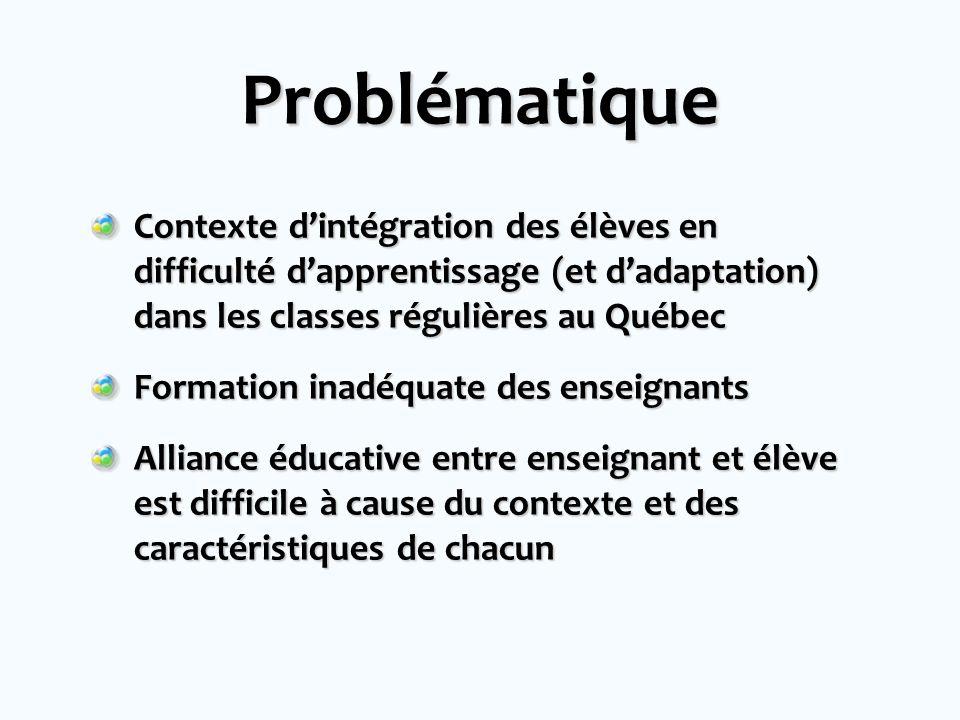 Problématique Contexte d'intégration des élèves en difficulté d'apprentissage (et d'adaptation) dans les classes régulières au Québec.