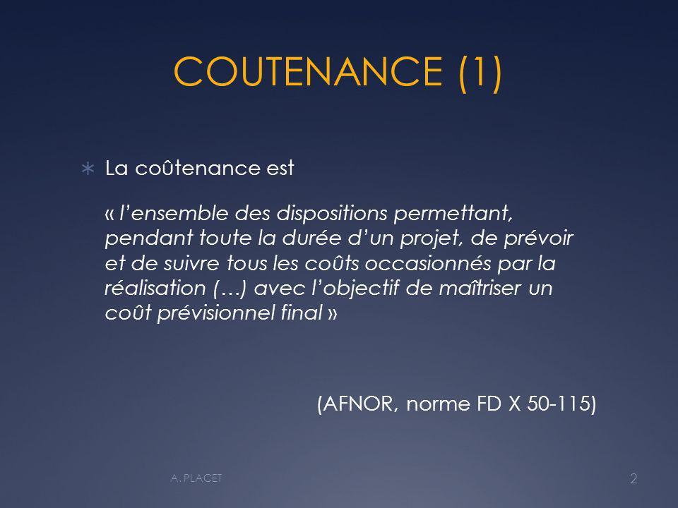 COUTENANCE (1) La coûtenance est
