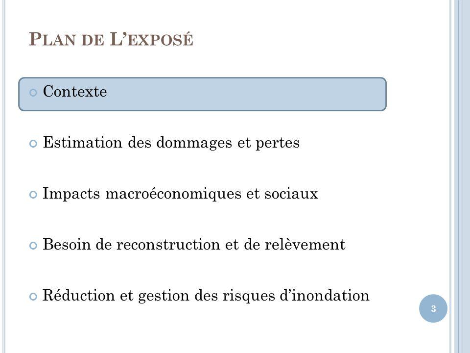 Plan de L'exposé Contexte Estimation des dommages et pertes