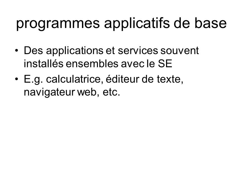 programmes applicatifs de base