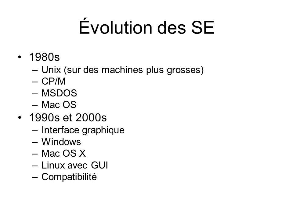 Évolution des SE 1980s. Unix (sur des machines plus grosses) CP/M. MSDOS. Mac OS. 1990s et 2000s.