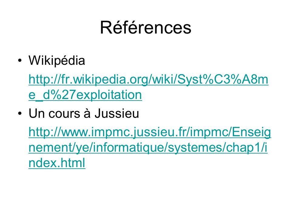 Références Wikipédia. http://fr.wikipedia.org/wiki/Syst%C3%A8me_d%27exploitation. Un cours à Jussieu.