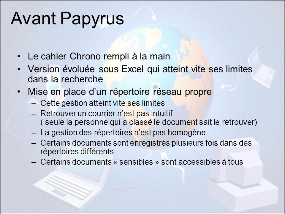 Avant Papyrus Le cahier Chrono rempli à la main