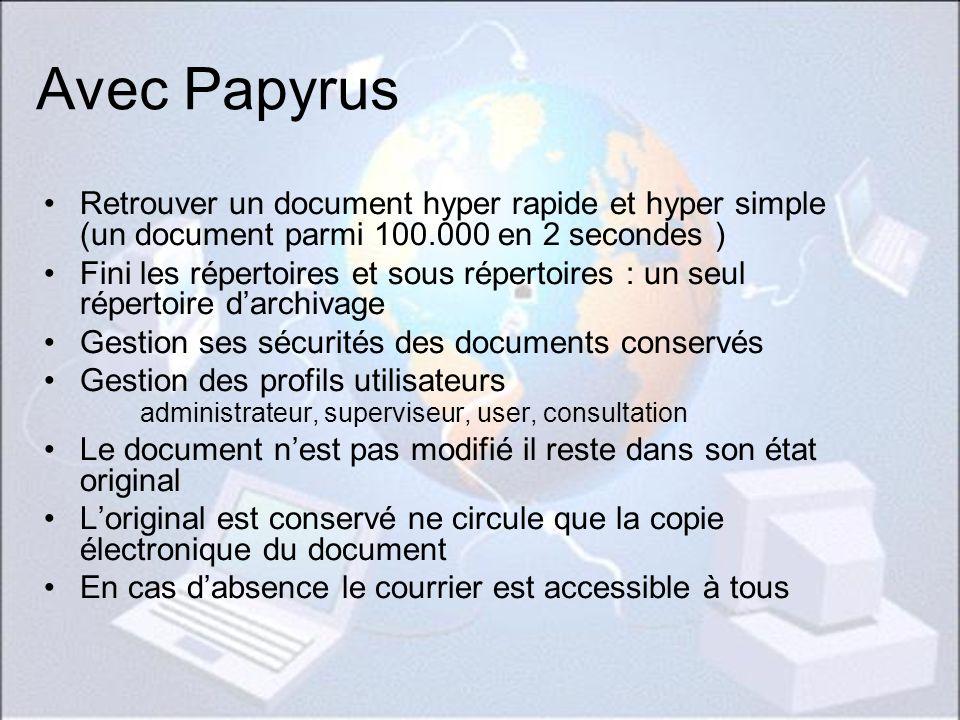 Avec Papyrus Retrouver un document hyper rapide et hyper simple (un document parmi 100.000 en 2 secondes )