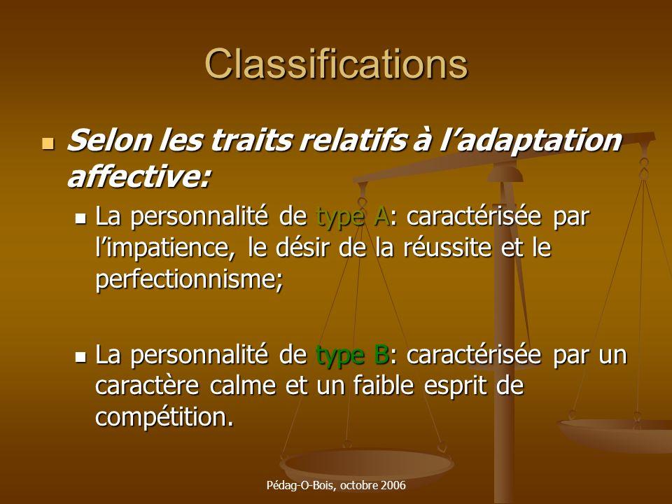 Classifications Selon les traits relatifs à l'adaptation affective: