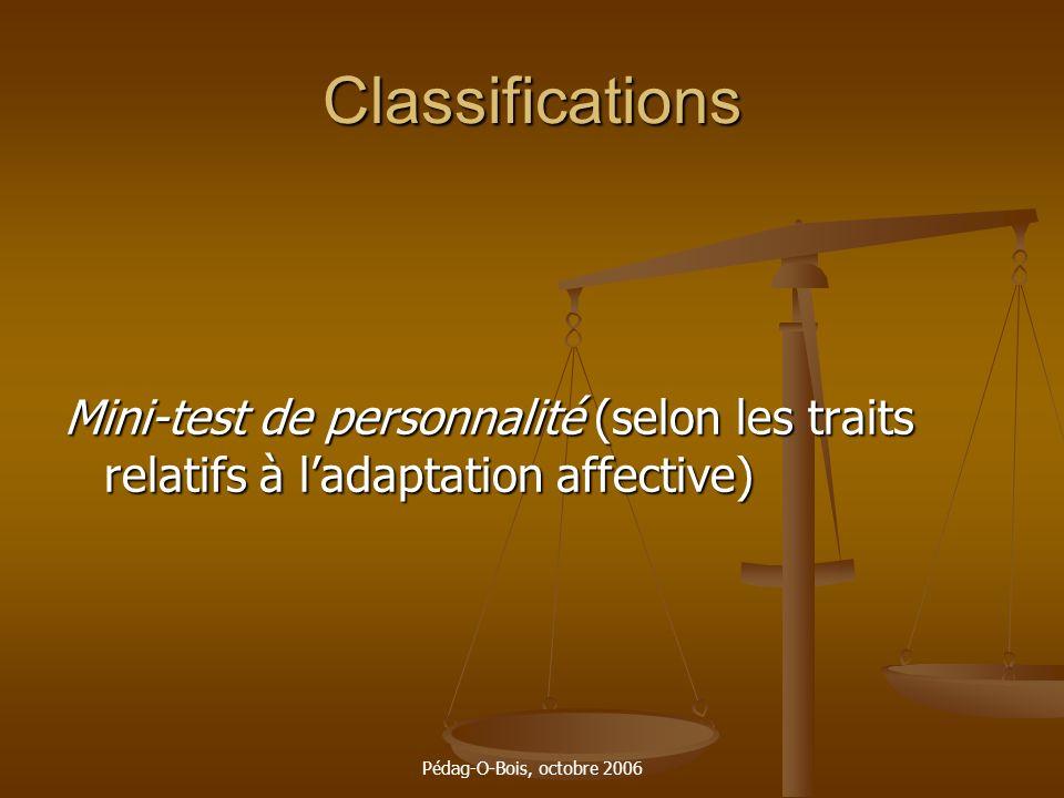 Classifications Mini-test de personnalité (selon les traits relatifs à l'adaptation affective) Pédag-O-Bois, octobre 2006.