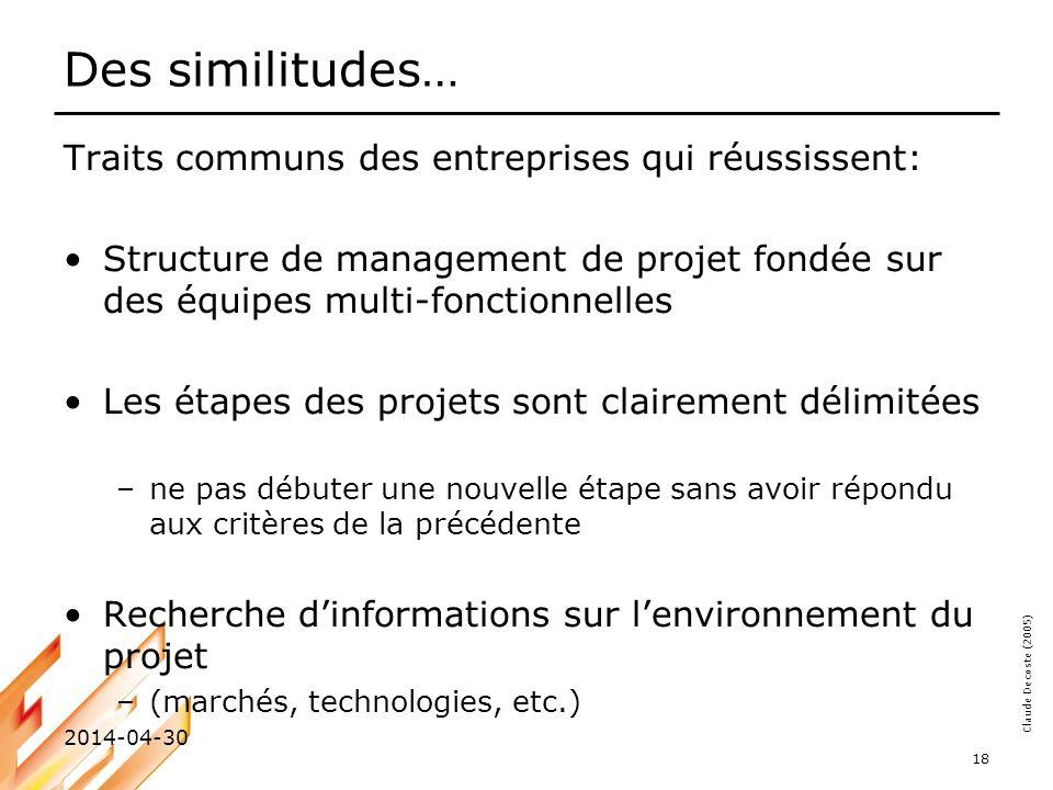 Des similitudes… Traits communs des entreprises qui réussissent:
