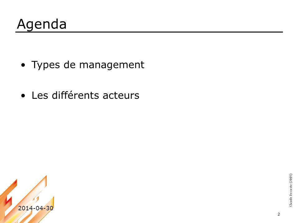 Agenda Types de management Les différents acteurs 2017-03-30