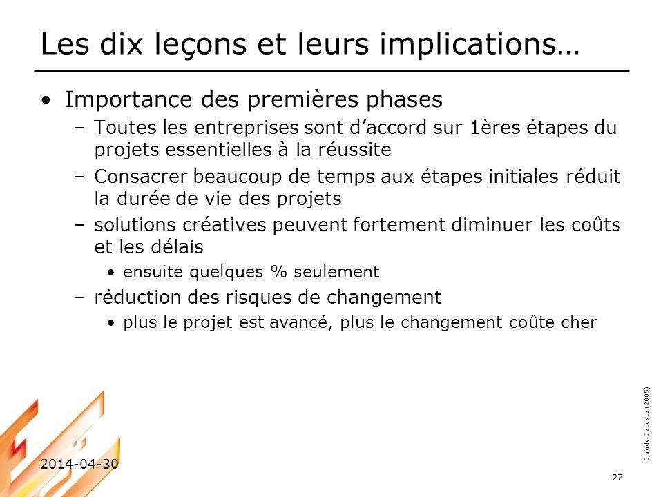Les dix leçons et leurs implications…