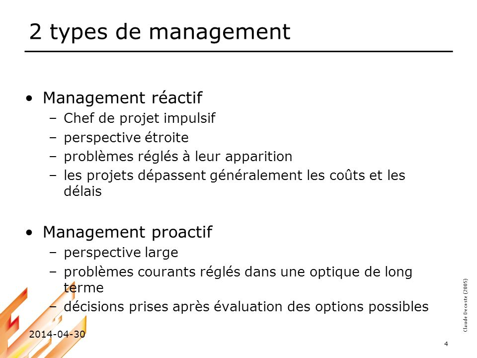2 types de management Management réactif Management proactif