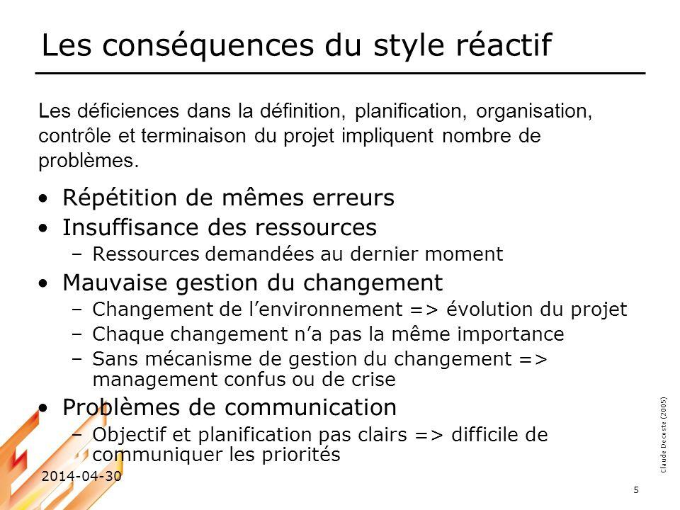 Les conséquences du style réactif