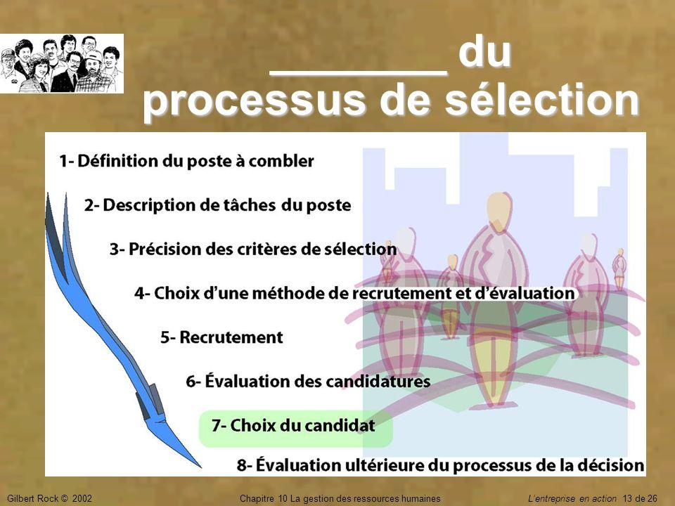 _______ du processus de sélection
