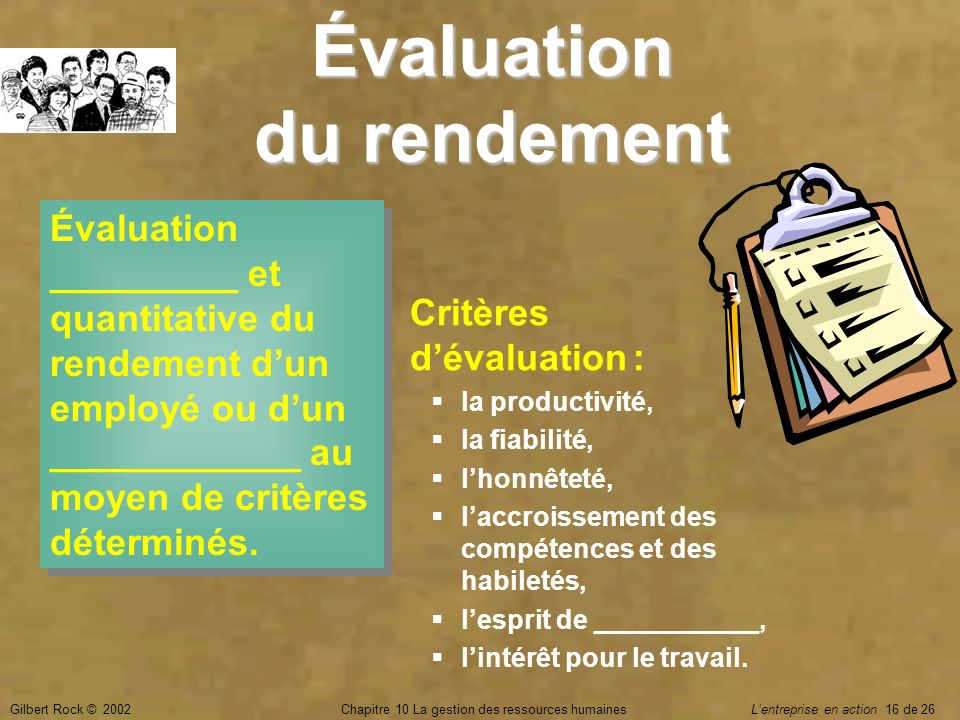 Évaluation du rendement
