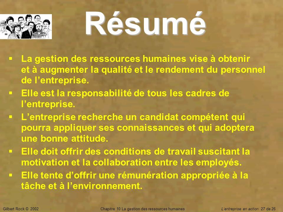 Chapitre 10 La gestion des ressources humaines