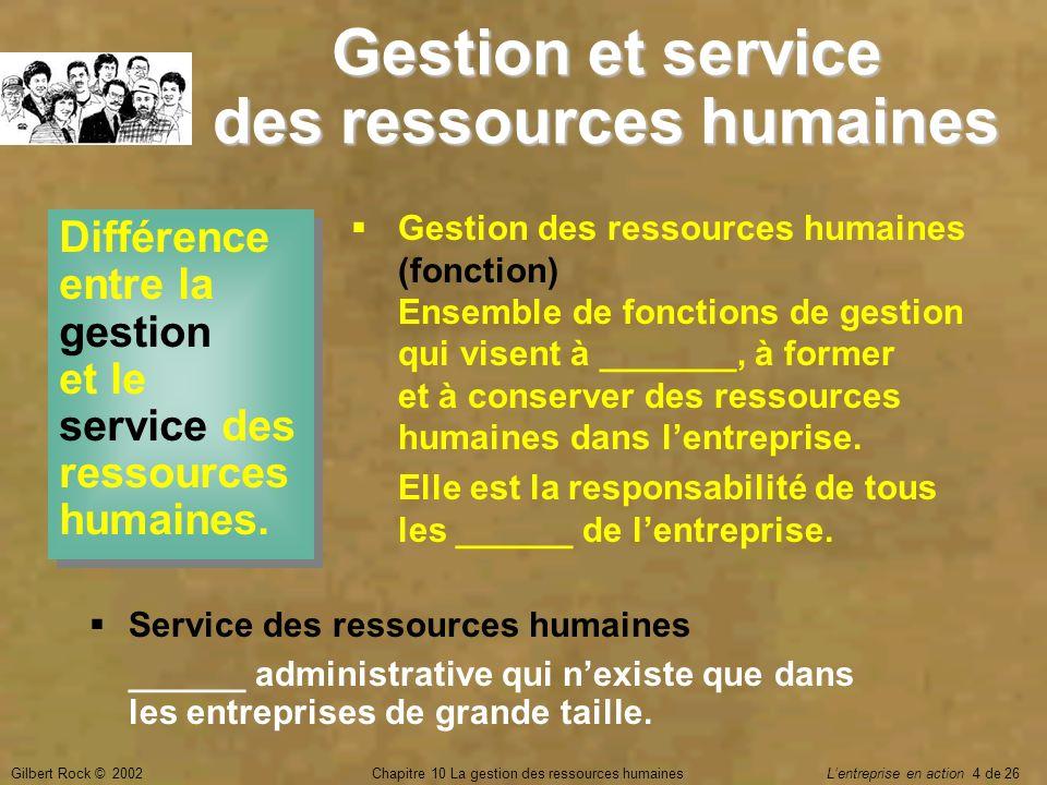 Gestion et service des ressources humaines