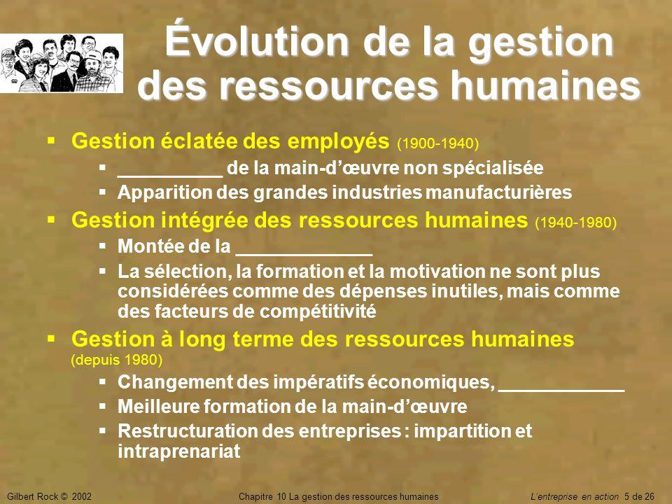 Évolution de la gestion des ressources humaines
