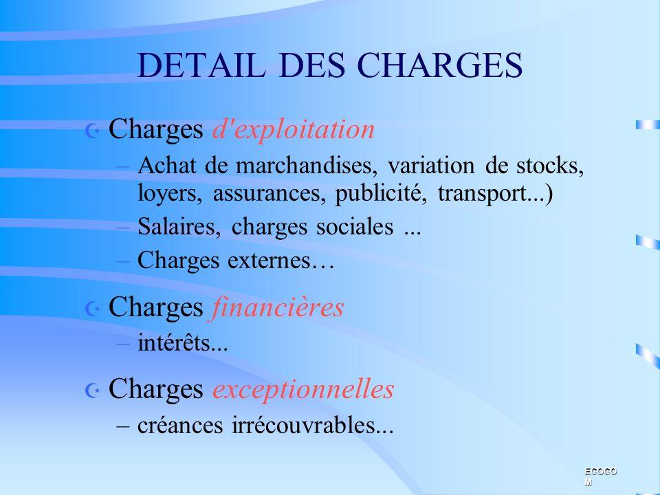 DETAIL DES CHARGES Charges d exploitation Charges financières