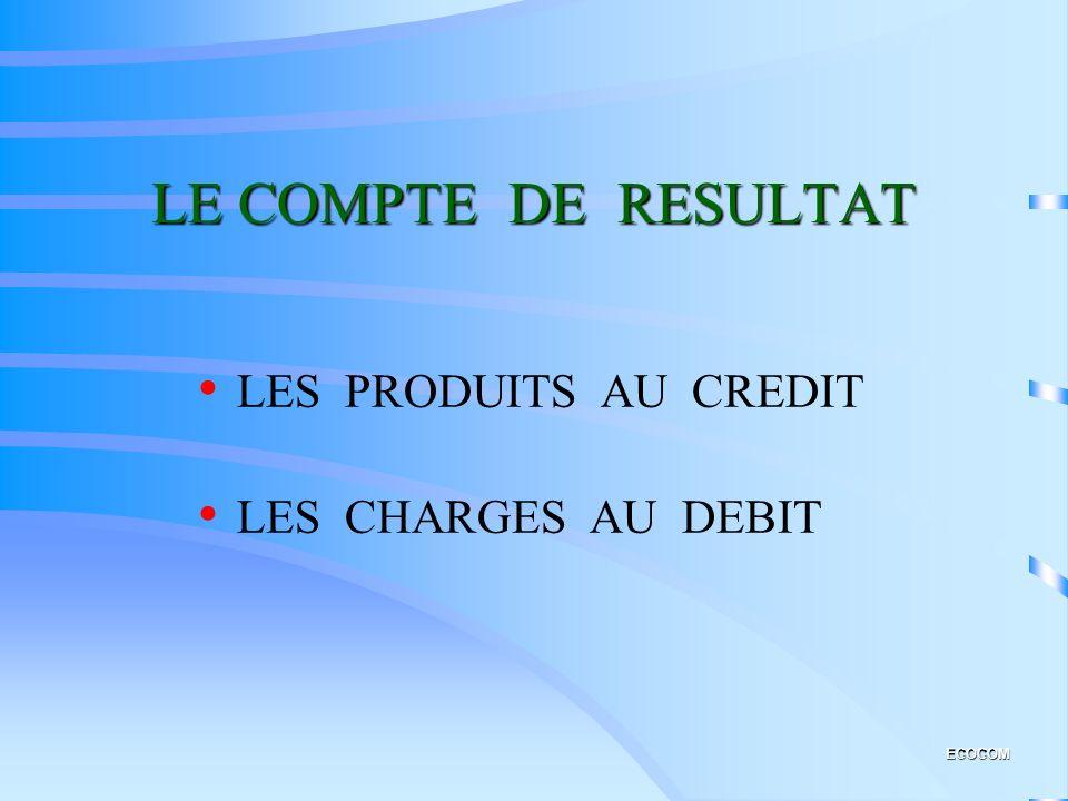 LE COMPTE DE RESULTAT LES PRODUITS AU CREDIT LES CHARGES AU DEBIT