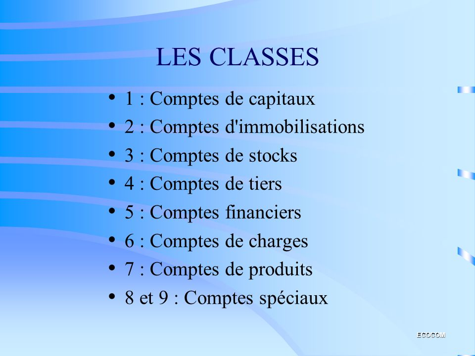 LES CLASSES 1 : Comptes de capitaux 2 : Comptes d immobilisations
