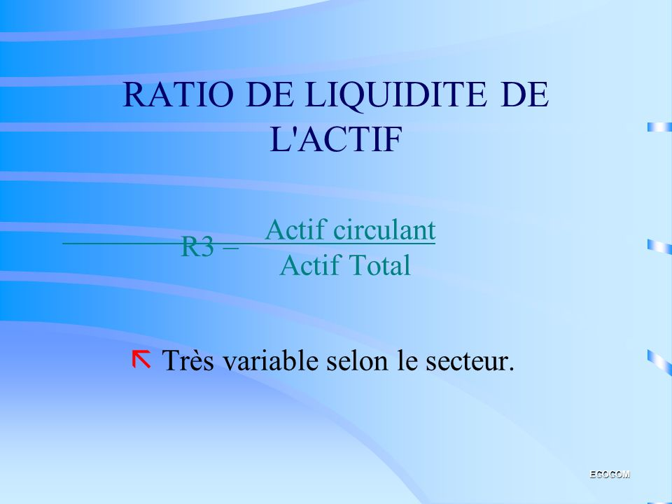 RATIO DE LIQUIDITE DE L ACTIF