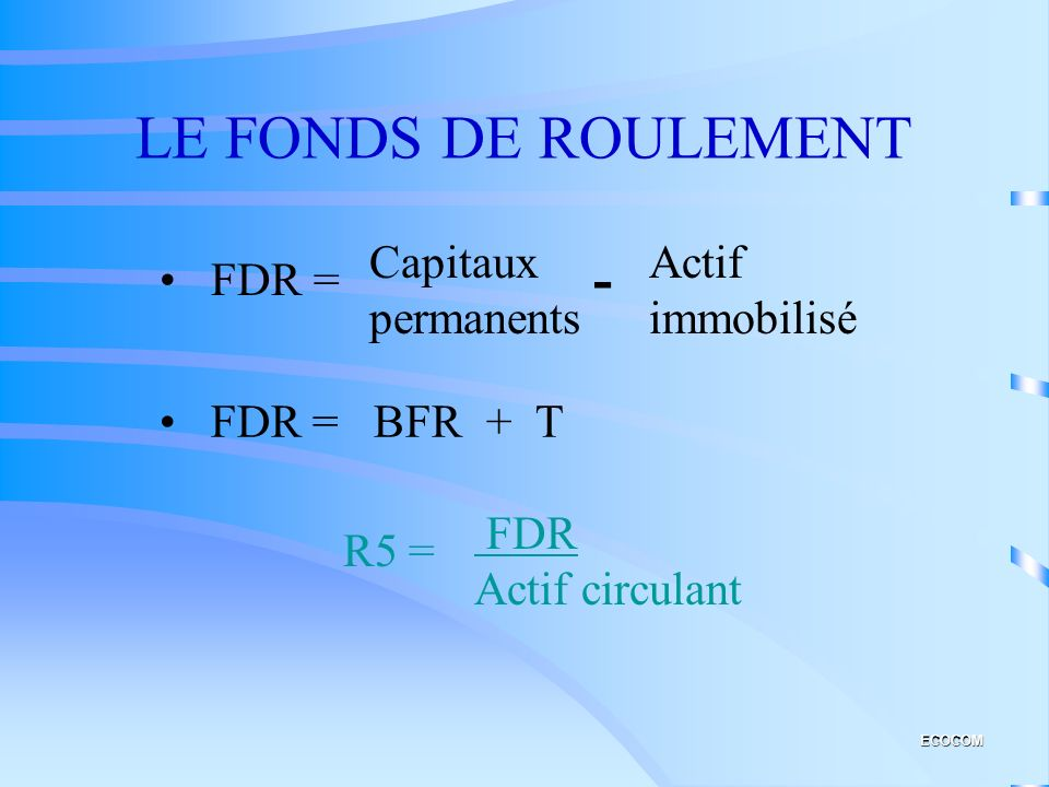 LE FONDS DE ROULEMENT - Capitaux permanents Actif immobilisé FDR =
