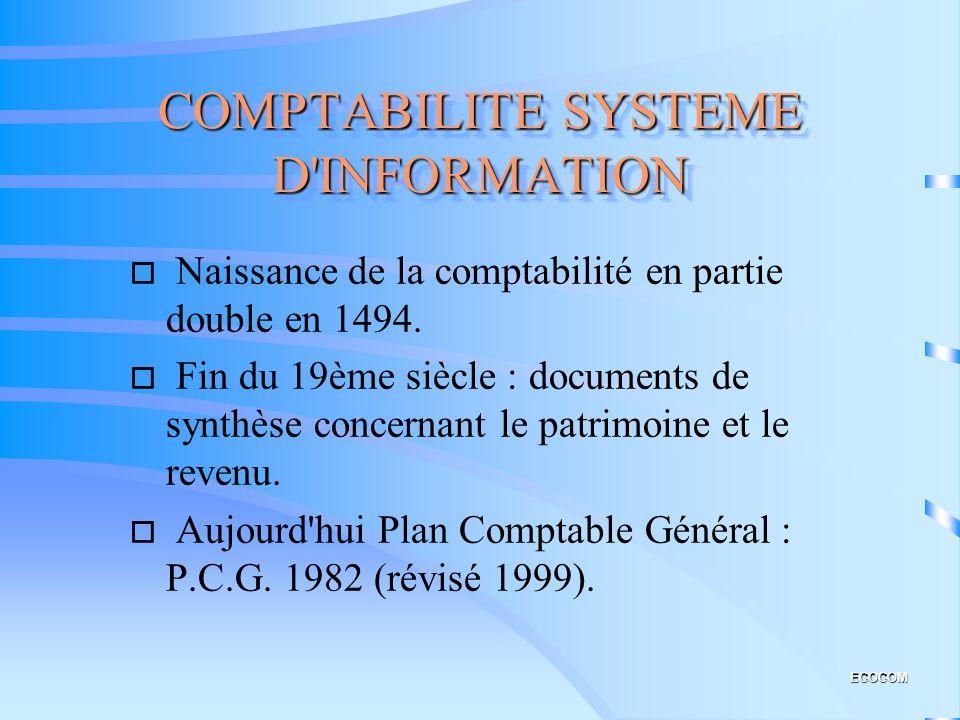 COMPTABILITE SYSTEME D INFORMATION