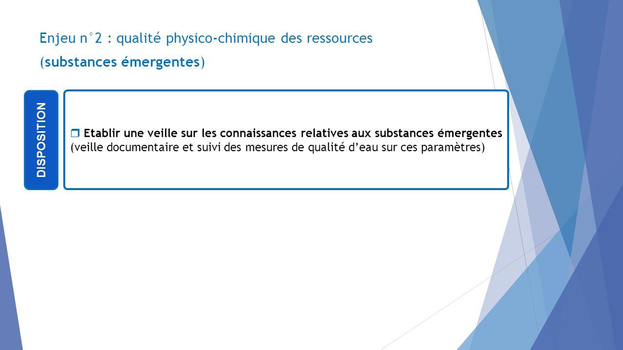 04/12/2013 Enjeu n°2 : qualité physico-chimique des ressources (substances émergentes) DISPOSITION.