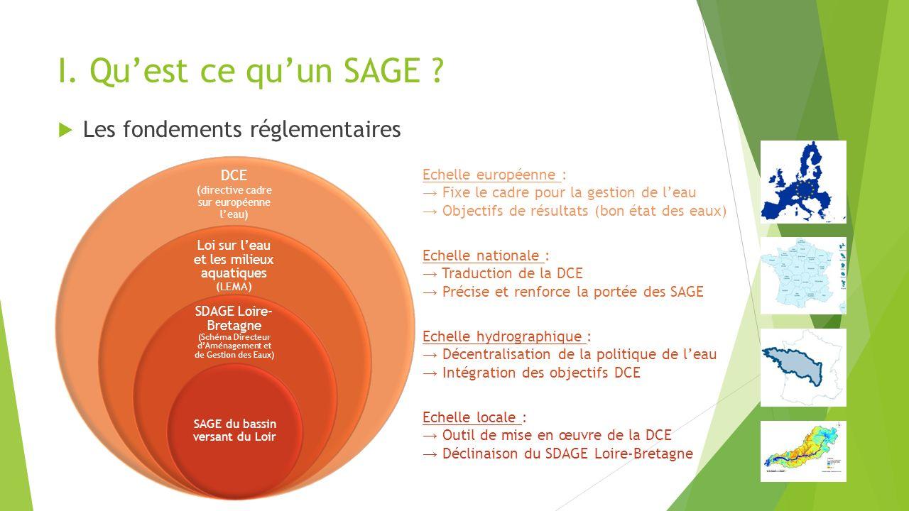 I. Qu'est ce qu'un SAGE Les fondements réglementaires DCE