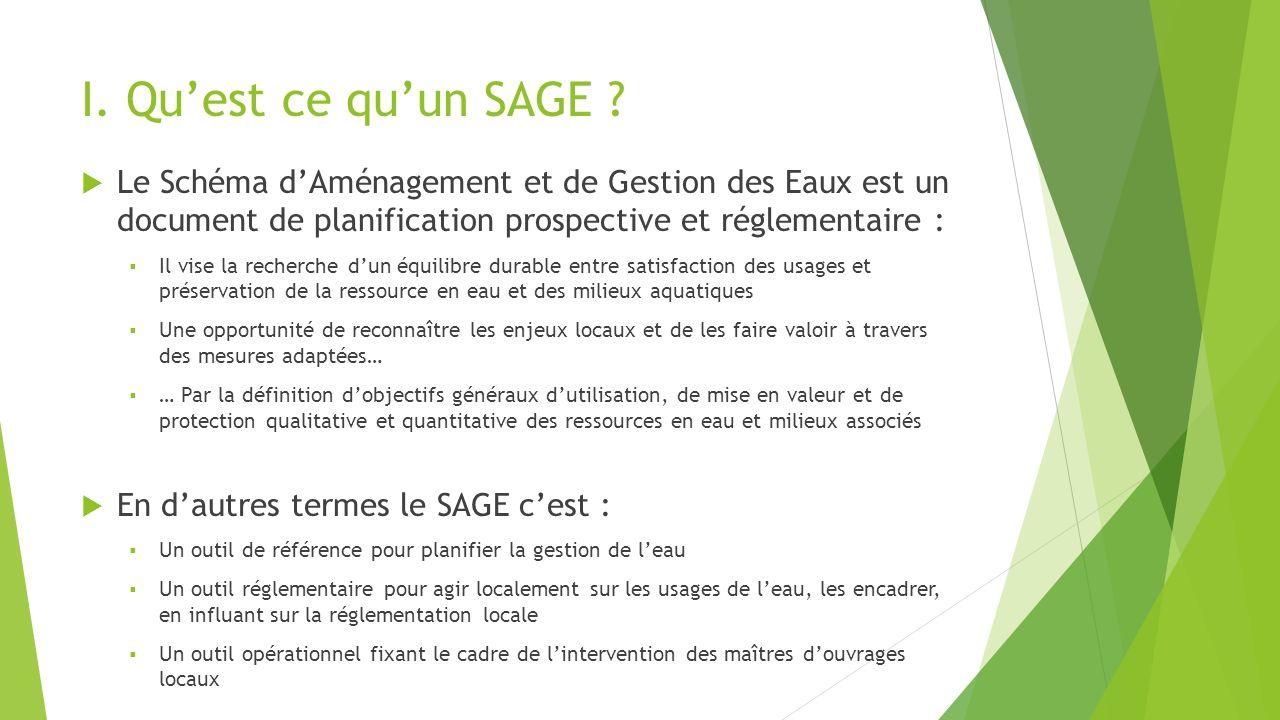 I. Qu'est ce qu'un SAGE Le Schéma d'Aménagement et de Gestion des Eaux est un document de planification prospective et réglementaire :