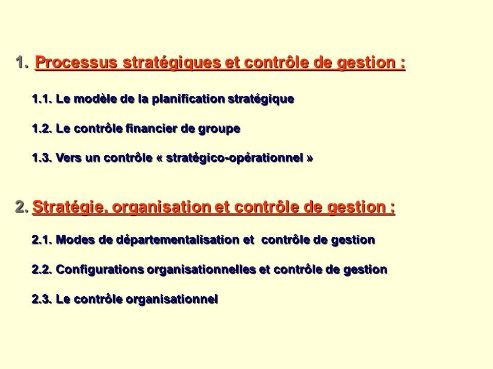 PLAN Processus stratégiques et contrôle de gestion :